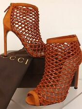 NIB GUCCI ORANGE LEATHER WOVEN OPEN TOE CAGE ANKLE BOOTS  37 7 #353730 $ 995