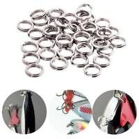 100-200pcs Fishing Solid Stainless Steel Snap Split Ring Lure Tackle Connector