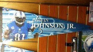 """NFL Detroit Lions Calvin Johnson Premium Pennant 12"""" x 30"""""""