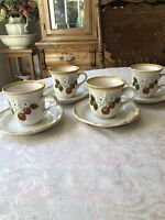 MIKASA 4 SETS STRAWBERRY FESTIVAL COFFEE CUPS AND SAUCERS