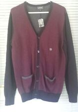 Express 4491 Mens Red Black Gray 100% Cotton Long Sleeve Cardigan Sweater Large