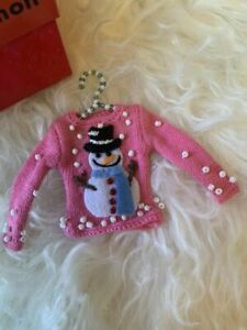 MICHAEL SIMON Christmas pink beaded Snowman Sweater  Ornament w/ Hanger