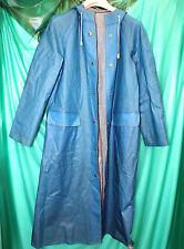 "rare Blue Rukka Finland vinyl pvc raincoat with hood mackintosh 38"" chest 46"" lo"