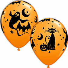 "Fun & Spooky Orange Balloons 28cm (11"") Pack of 10 Halloween Party Decoration"