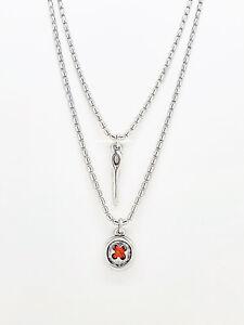 NEW UNO de 50 Silver Lady in Red Button Layer Chain Necklace COL1554MTL0000U