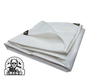 WHITE PREMIUM 14 MIL REINFORCED EXTREME HEAVY DUTY POLY TARP (CHOOSE YOUR SIZE)