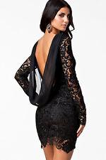 Lace Crochet Open Hollow Out Back Night Club Vintage Dress Black Medium