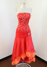 Vtg Panoply Red Orange Ruffle Hi Lo Sequin Strapless Formal Party Prom Dress 10