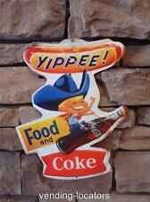 Coca Cola Metal Food and Coke Bottle Can Soda Fountain Embossed Tin Sign Yippee