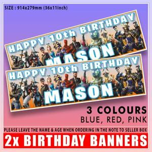 """2 x Personalised FORTNITE Birthday Banner ANY NAME, ANY AGE 36""""x11"""" 7th 8th 9th"""