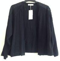 Size 20 Per Una Stunning Black Bolero Loose Cardigan with Lace Trim  BNWT