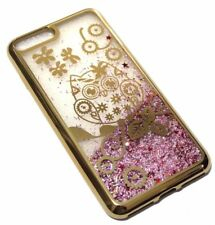 For iPhone 7 PLUS - GOLD OWL FLOWER Pink Glitter Stars Liquid Water Case Cover