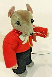 """Rare Vintage Near Mint 1950 Steiff Velvet Molded """"Pippy"""" the Mouse - 4"""" tall"""