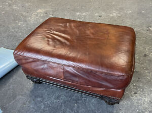 Large Reddish brown Leather footstool Pouffe UK DELIVERY AVAILABLE