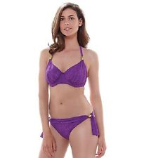 FANTASIE LOMBOK PURPLE HAZE UNDERWIRE HALTER FULL CUP BIKINI TOP & BRIEF 32E/10E