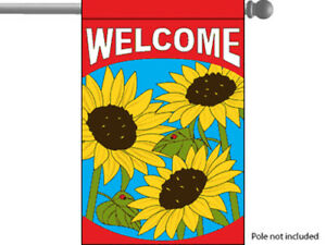 28x40 Inch WELCOME House Garden Flag Sunflower Spring Decorative - rf