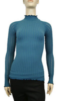 New Free People Womens Intimately Seamless Mock Neck Long Sleeve Top Teal $58