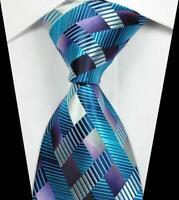 Hot Classic Geometric Blue Purple JACQUARD WOVEN 100% Silk Men's Tie Necktie