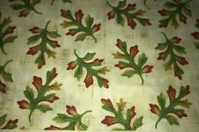 1/2 Yd Oak Leaves on Creamy Blender Bthy Cotton Quilt Fabric Green Orange Gold