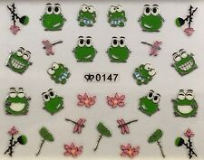 Nail Art 3D Decal Stickers Frog Water Flower Dragonfly Lilly Pad 0147