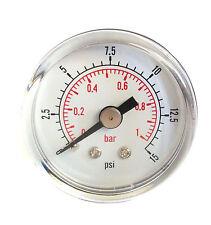Low Pressure Gauge for fuel air oil or water 50mm 0/15 PSI & 0/1 Bar 1/4 BSPT D