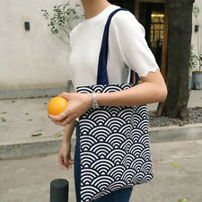 Fashions Cotton Linen Reusable Clouds Pattern Blue Shoulder Bags Shopping Tote