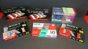 Sony Memorex Fuji Maxell x8 Blank 90 Cassette Tapes Cassettes New & Sealed