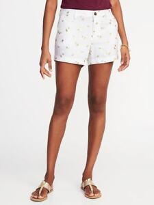 "Old Navy Metallic Palm Print White Linen Blend Shorts 3.5"" inseam Sz: 2 NWT"