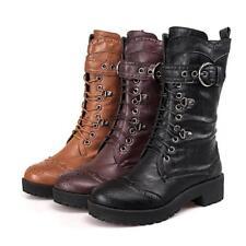 Womens Punk Gothic Lace up Rivet Buckle Mid-Calf Combat boots Plus Size 9.5 10.5