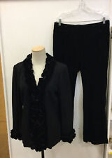 Authentic ST. JOHN EVENING  Ruffled Velvet Pantsuit  Jacket Sz 8 Pants Sz12