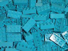 NEW LEGO Medium Azure Blue 2X4 Bricks Bulk Lot of 100 Pieces 3001