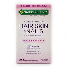 Nature's Bounty Extra Strength Hair Skin & Nails 250 SGs, Biotin,Hyaluronic Acid
