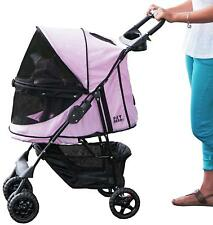 Pink 4 Wheel Luxury Pet Dog Cat Puppy Stroller Pushchair Buggy Pram Travel Cage
