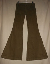 FREE PEOPLE 25 26 28 Military Olive Green Corduroy Bell Bottom Flare Jeans Pants