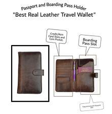 Genuine Leather Men Women Brown Passport and Boarding Pass Holder/Travel Wallet