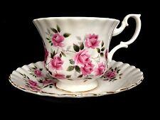 Royal Albert China Pink Roses Floral Teacup and Saucer Montrose Shape England