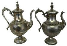 Pair Antique BARKER PLAYHOUSE Providence RI Theater Meriden Silverplated Teapots