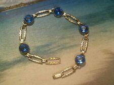 Vintage Simmons Gold Tone Metal and Cobalt Blue Rhinestone Paste Bracelet