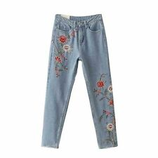 Womens Floral Embroidery Straight Fit Jeans Pants Trousers Pocket Vintage
