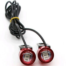 2pc 12V Motorcycle Rearview Mirror Eagle Eye 3 LED Flash Strobe Lights DRL Red
