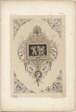 1866 Design Lithograph of Renaissance Emblem by Michel Joseph Napoleon Lienard