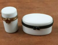LIMOGES FRANCE Blank White Hinged Trinket Boxes Oval & Cylinder Lot Of 2