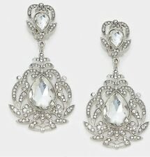 "3.5"" BiG Long Crystal White Clear Silver Rhinestone Bridal Earrings CLIP ON"