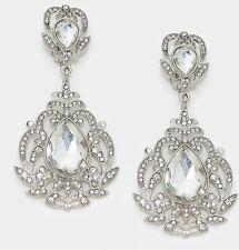 "3.5"" BiG Long Crystal White Clear Silver Rhinestone Bridal Earrings CLIP ON"