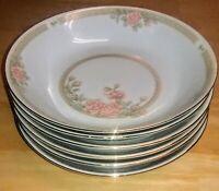 "6 Crown Ming China CHRISTINA 1392 Gold Trim Soup Serving Bowl set 7.5"" Roses Exc"