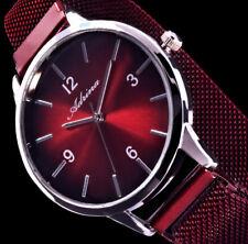 Adrina Uhr Damenuhr Rot Silber Farben Mesh Armband Glanz ADR10