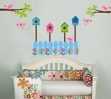 wall stickers bird cage flower branch fence Removable Nursery Kid Baby Art decor