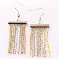 Women Fringe Dangle Earrings 18K Yellow Mix Gold Plated Wedding UK