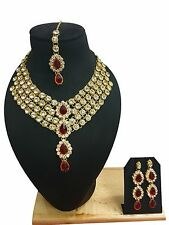 Indian Ethnic Style Bollywood Gold Plated Wedding Fashion Jewelry Necklace Set