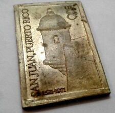 1971 GOLDEN BRONZE 450Anniversary SAN JUAN Commemorative STAMP Medal PUERTO RICO